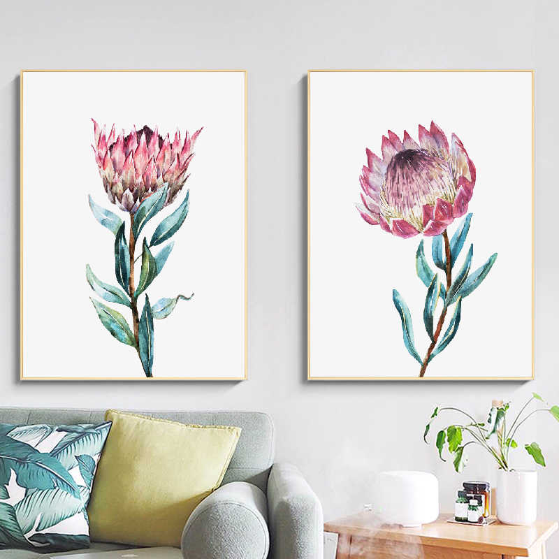 Protea Botanical Watercolor Flowers Wall Art Canvas Painting Large Floral Posters And Prints Wall Pictures for Home Room Decor