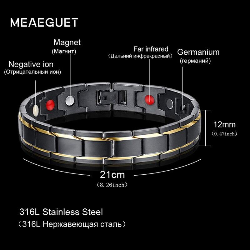 Meaeguet salud pulsera magnética Bio infrarrojo lejano estupendo germanio Acero inoxidable Pulseira terapia brazalete joyería