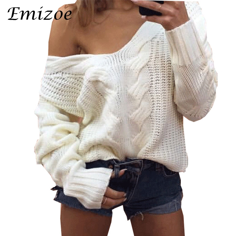 Emizoe autumn winter knitted top women ugly v neck twist sweater jumpers 2017 casual whi ...