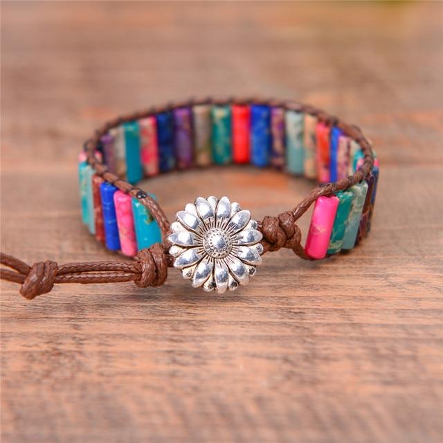 Boho Tube Shape Natural Stone Beaded Bracelet Unique Friendship Leather Bracelet Dropshipping Single Leather Wrap Bracelet 2