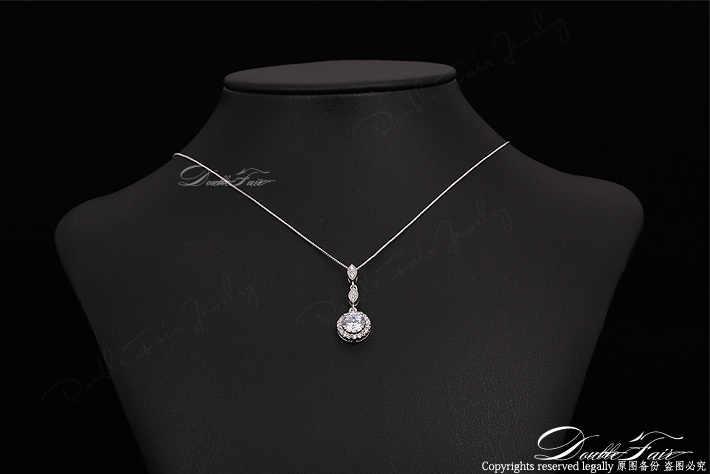 Vintage zircon cubique Micro pavé or Rose/argent couleur collier et pendentifs cristal bijoux de mariage pour les femmes DFN428