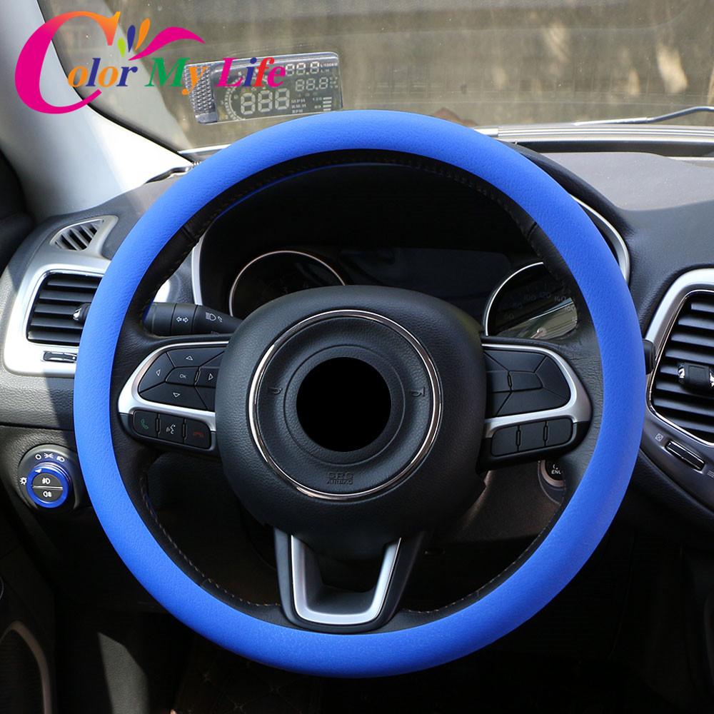 Color My Life Silicone Car Steering Wheel Protection Cover for Hyundai Verna Solaris I20 Ix25 I30 Tucson Ix35 I40 SantaFe HB20