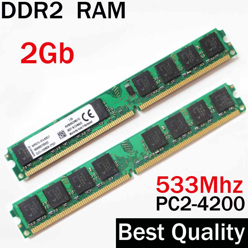 DDR2 2Gb 533Mhz RAM 533 2gb RAM ddr2 For AMD or for Intel memoria 2gb ddr2 ram single / ddr 2 gb memory RAM PC2-4200 PC 4200 gtfs hot 2 x aluminum heatsink shim spreader for ddr ram memory