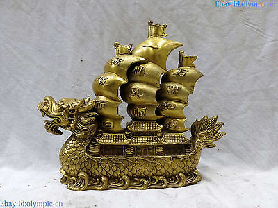 Fine Brass sculpture China copper Wishing you every success dragon boat StatueFine Brass sculpture China copper Wishing you every success dragon boat Statue