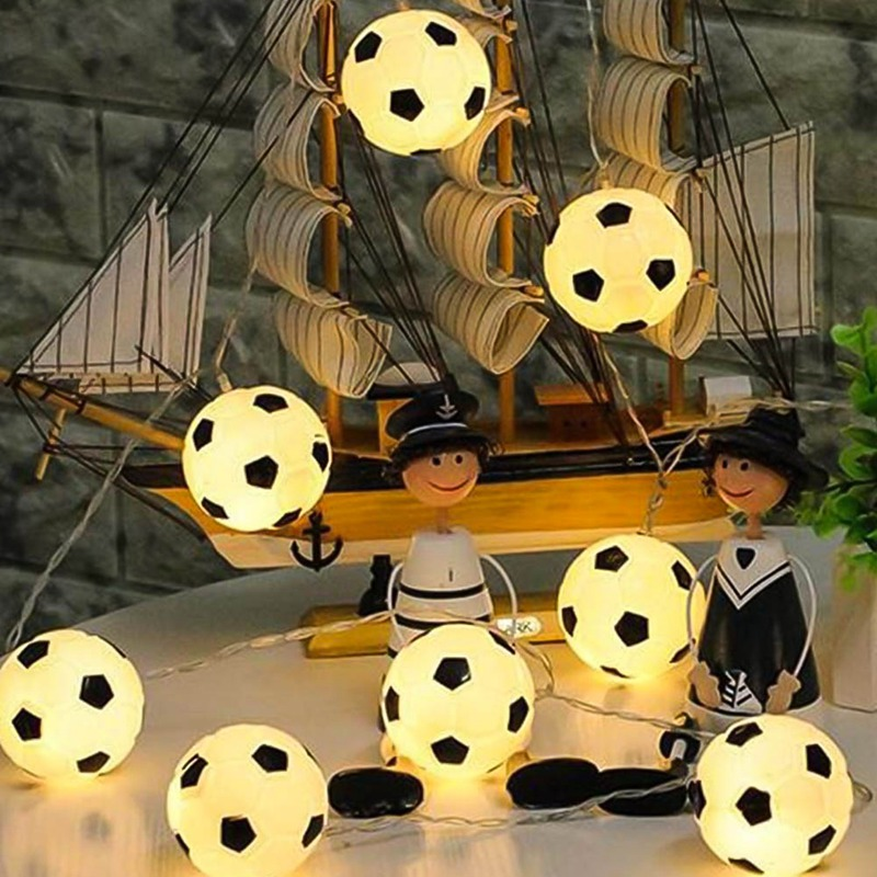 10 LED / 20 LED Soccer Festoon Light Party Ball String Lamp Led Garland Fairy Lights Wedding Pendant Garden Outdoor Decoration