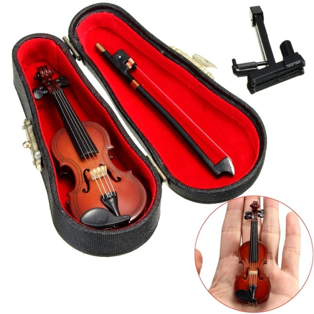 New Mini Violin Guitar Upgraded Version With Support Miniature Wooden Musical Instruments Collection Decorative Ornaments Model 4