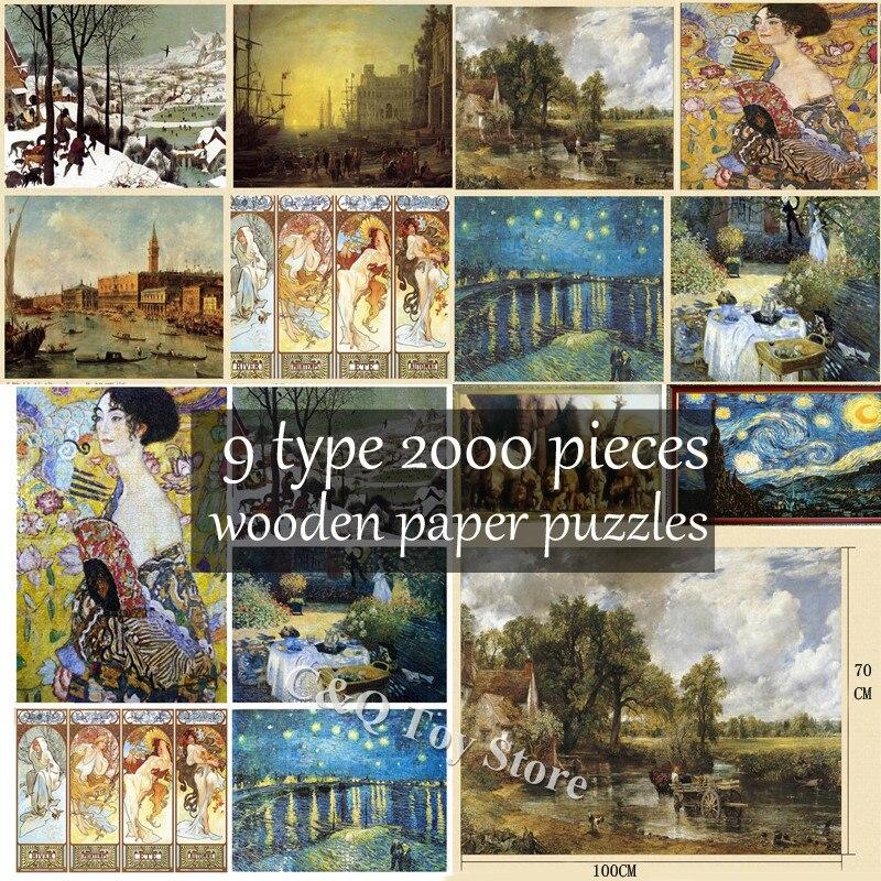 9 Type adultes difficiles 2000 pièces 3D monde peinture à l'huile Puzzles adulte célèbre nuit étoilée en bois papier Puzzle cadeau pour enfant