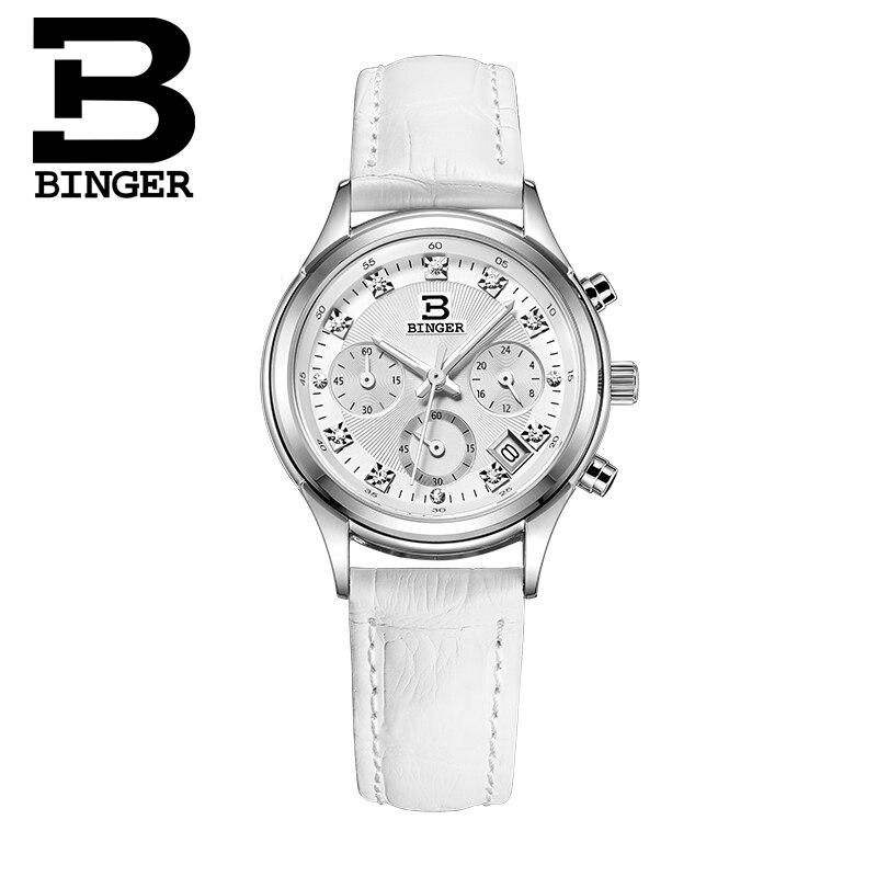 Relojes de lujo marca cuarzo Suiza Binger reloj impermeable correa de cuero genuino cronógrafo relojes de pulsera BG6019 W4-in Relojes de mujer from Relojes de pulsera    2