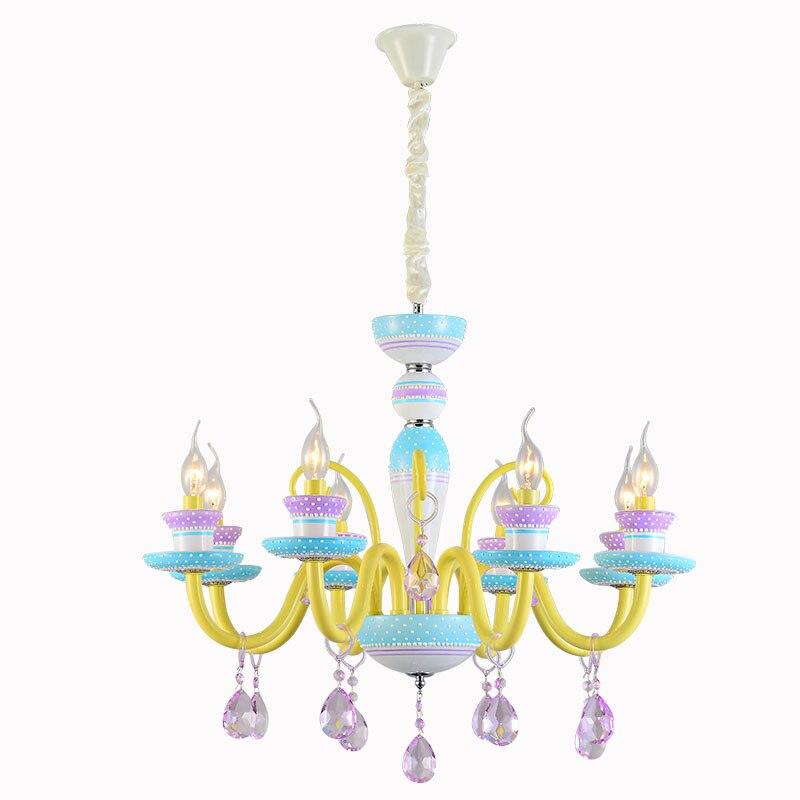 Американский стиль macarons светодиодный свет люстры детская комната Стекло Металл света красочные стеклянная абажур 3 Вт теплый белый E14 свето