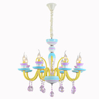 American sytle macarons LED chandelier light kids room glass metal light colorful glass lampshade 3W warm white E14 led bulb