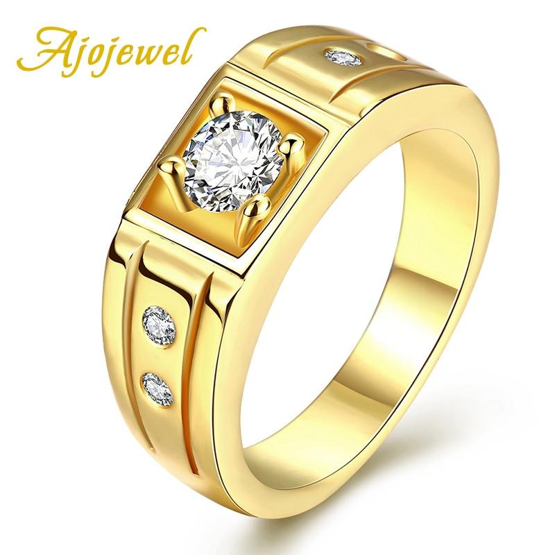 Jojewel homem jóias ouro-cor 4 garra zircão cúbico masculino anéis de noivado