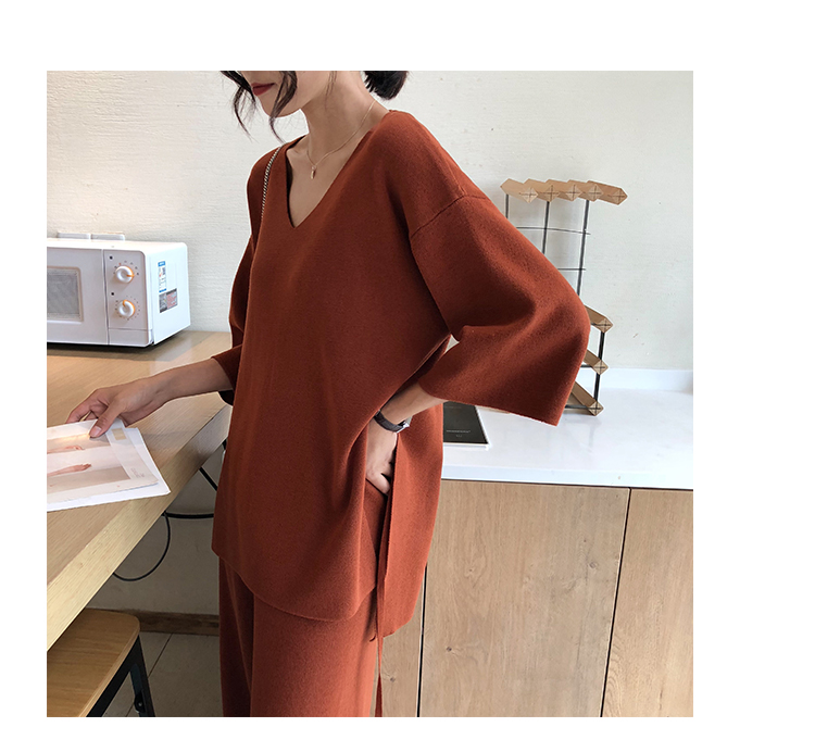 Knitting Female Sweater Pantsuit For Women Two Piece Set Knitted Pullover V-neck Long Sleeve Bandage Top Wide Leg Pants  Suit 9
