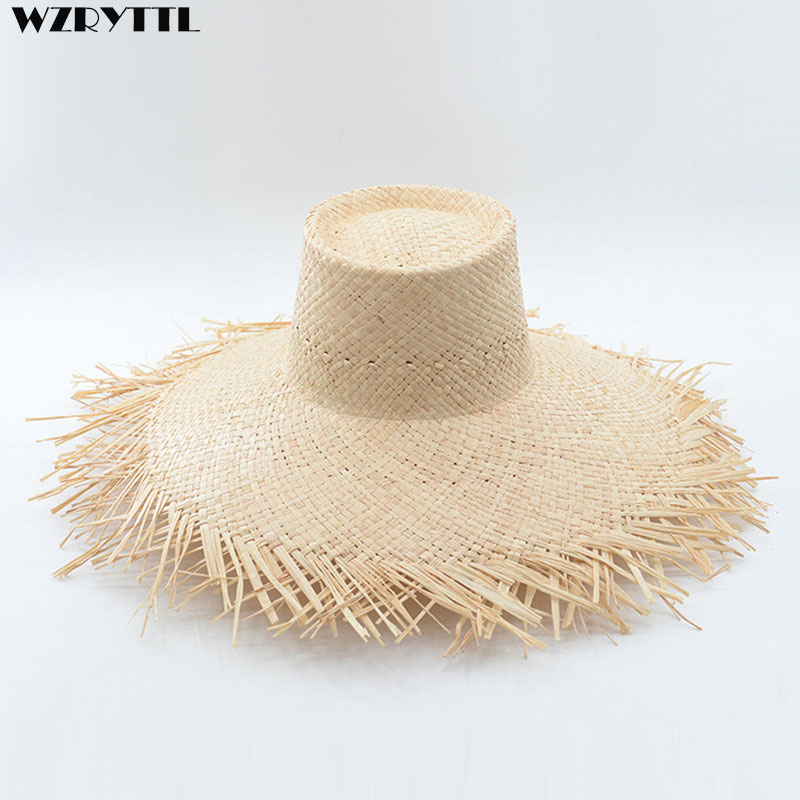 New Fashion Women's Summer Hat Wide Brim Raffia Hats In Fringed Plain Sun Straw Hats Ladies Flat Top Seaside Beach Hats Derby