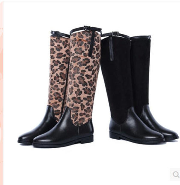 2014 New Fashion High Leather Martin Boots Women Winter Warm Flat Knight Boots Velvet Padded Sexy Leopard Stitching Boots H2990