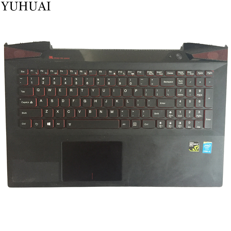 95% New US laptop Keyboard for Lenovo IdeaPad Y50 Y50-70 with Palmrest COVER Backlight TouchPad laptop parts for lenovo yoga 2 13 yoga2 13 black palmrest with backlit sweden sw1 keyboard 90205189