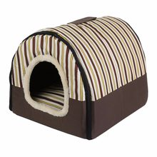 Portable Foldable Puppy Dog Cat House with Mat Kennel Nest Soft Bed Bag for Small Medium Pet Dogs Comfortable Travel Tent(China)
