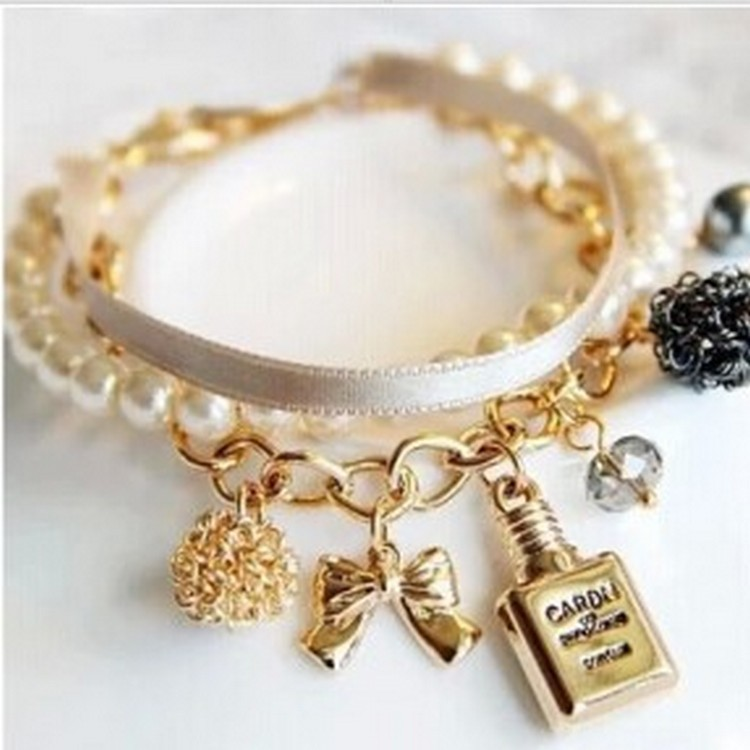 2018 New Girls Perfume Bottles Decorated with Hand Decorated Pearl Ribbons Bow Tie Crystal Bracelet 180528-2
