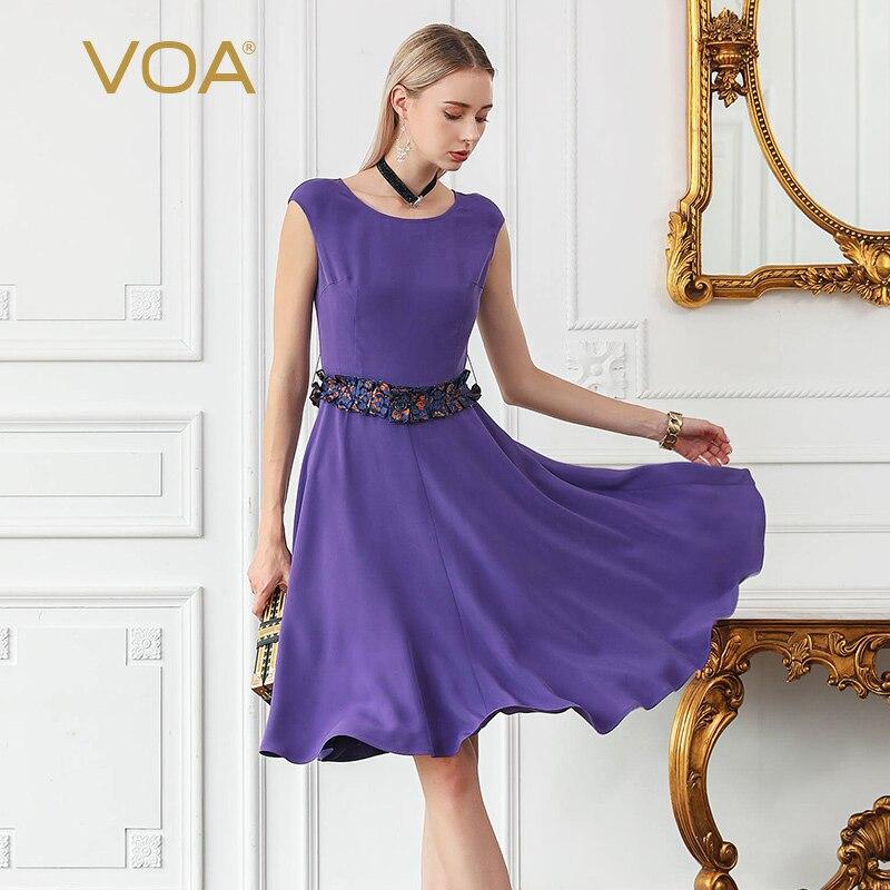 VOA 2018 тяжелый шелк Лето одеяние Femme Ete даже плеча Твердые Цвет шить с круглым вырезом и короткими рукавами принцесса элегантное платье a838
