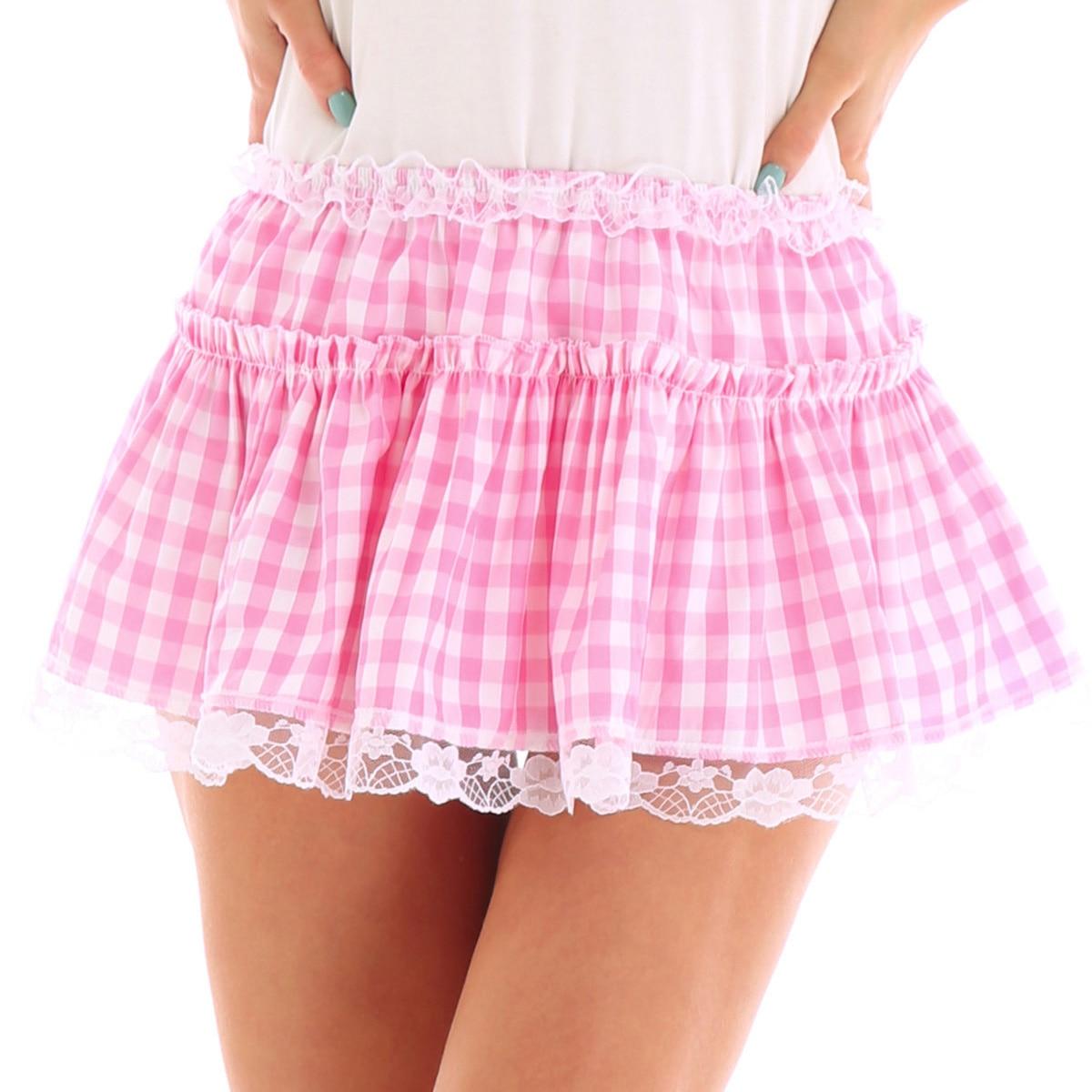 Unisex Men Women A-line Mini Skirt  Men Sexy Sissy Skirt Elastic Waistband Short Skirt With Lace Hem Pleated Gingham Roleplay