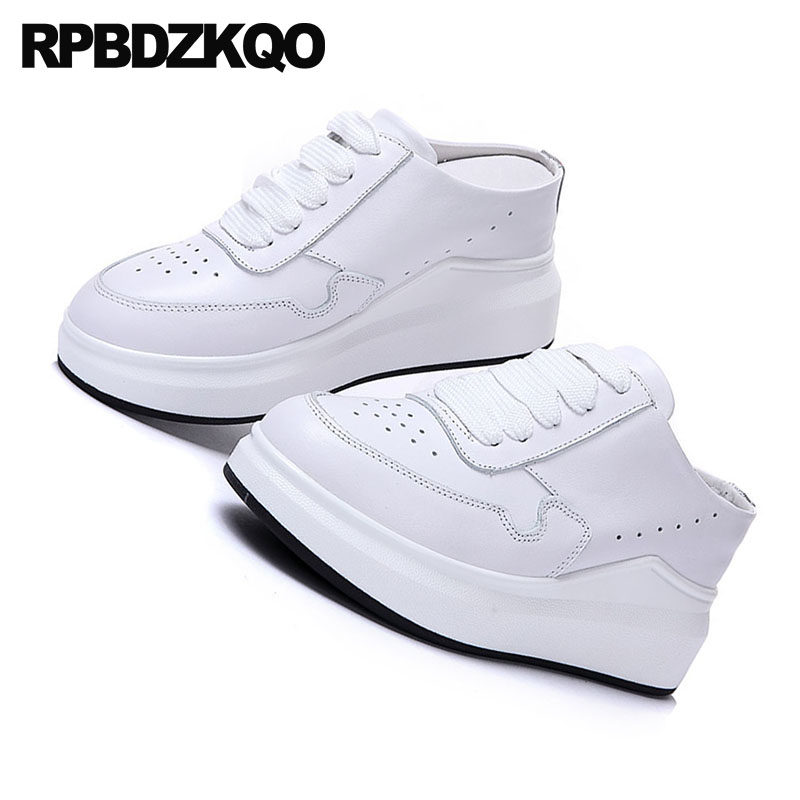 Muffin Femmes Épais Cuir Respirant Formateurs Blanc Ascenseur Sneakers Chaussures forme Lace Wedge Véritable Sole De Up Luxe Creepers Plate tA8RqRw6