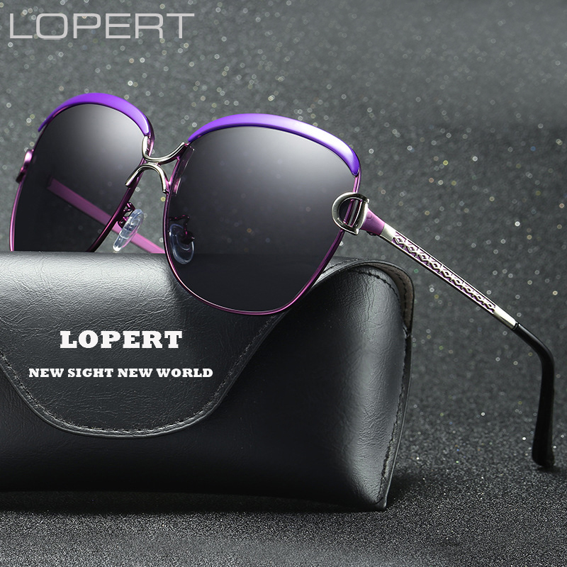 LOPERT Fashion Polarized Solglasögon Kvinnor Luxury Brand Glasögon Retro Summer HD Polaroid Lins Solglasögon Med UV400