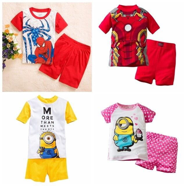 fe4df45d7 Nuevo diseño algodón pijamas niños manga corta niños pijamas niños ...