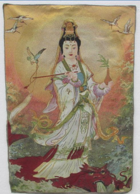 A Golden Silk Embroidery Thangka  Guanyin Tibet And Nepal Exorcism Peace And Wealth