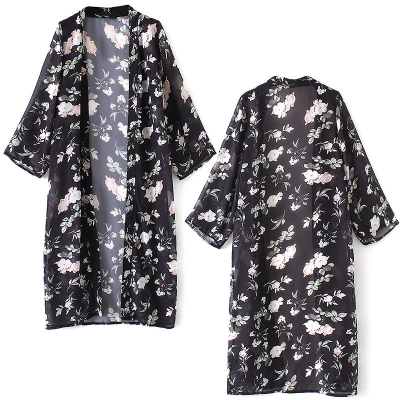 Women Floral Printed Long Kimono blusas y camisa Outerwear Casual Loose Sunscreen Shirt