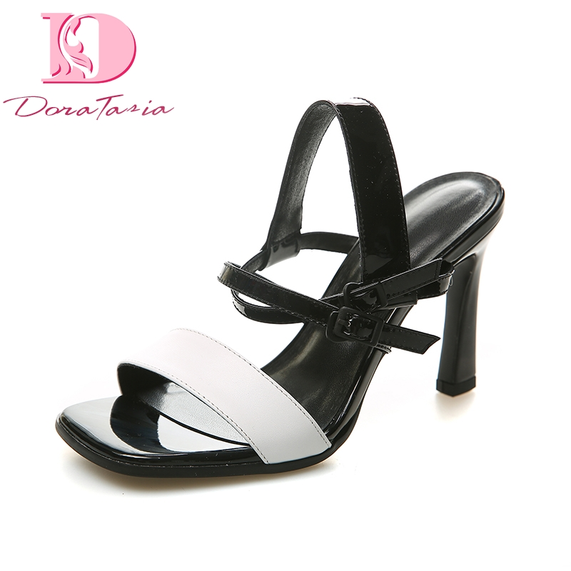 DoraTasia Brand Design Genuine Leather Large Size 33-43 Black White High Heels Shoes Woman Summer Sexy Sandals Shoes Women цена
