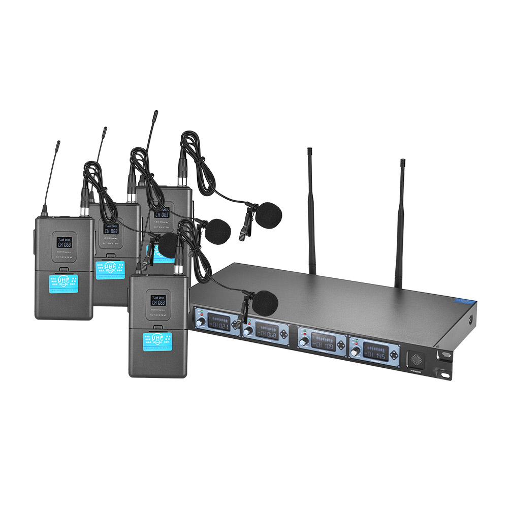 4 Channels UHF Wireless Lavalier Lapel Collar Clip on Microphone System 4 Mic 1 Wireless Receiver