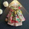 2017 новый летних Девочек Принцесса тонкий цветочный рукавов блузка западный стиль шорты из двух частей набор одного поколения