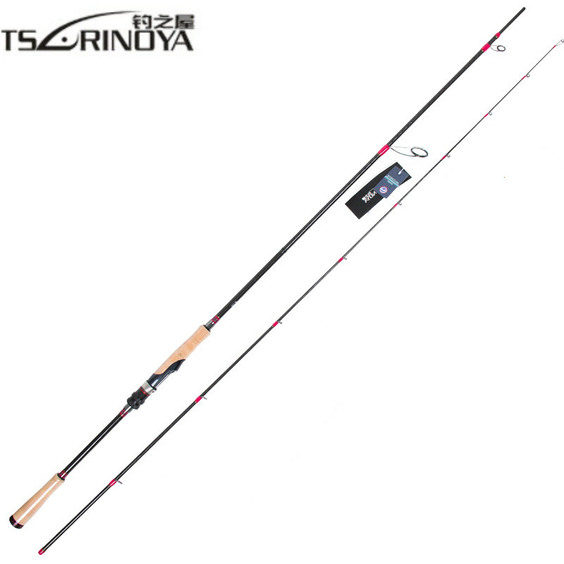 TSURINOYA señuelo caña de pescar 2,47 m 2 Sección M potencia fibra de carbono Spinning/fundición caña de pescar 7-25 aparejos de pesca con señuelo g