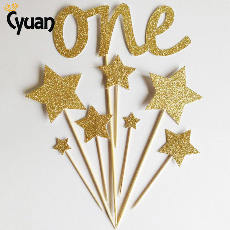 Cyuan 8pcs Gold One Star Cake Topper Baby Shower 1st Year Girl/Boy Birthday Party Cupcake Decor 1st Anniversary Party Supplies
