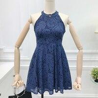 Vestidos Halter Sleeveless Lace Dress Elegant Women Short Prom Office Slim Party Dresses Summer 2018 Casual Beach Dress AD161