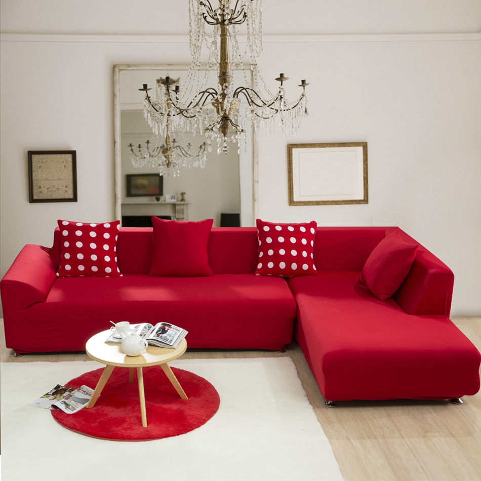 Red solid color elastic corner sofa cover for living room