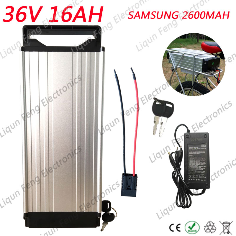 Free Shipping Rear Rack 36V 16AH Electric Bicycle Lithium ion Battery use SAMSUNG cells 500W 36V 16AH Ebike Battery 2A Charger