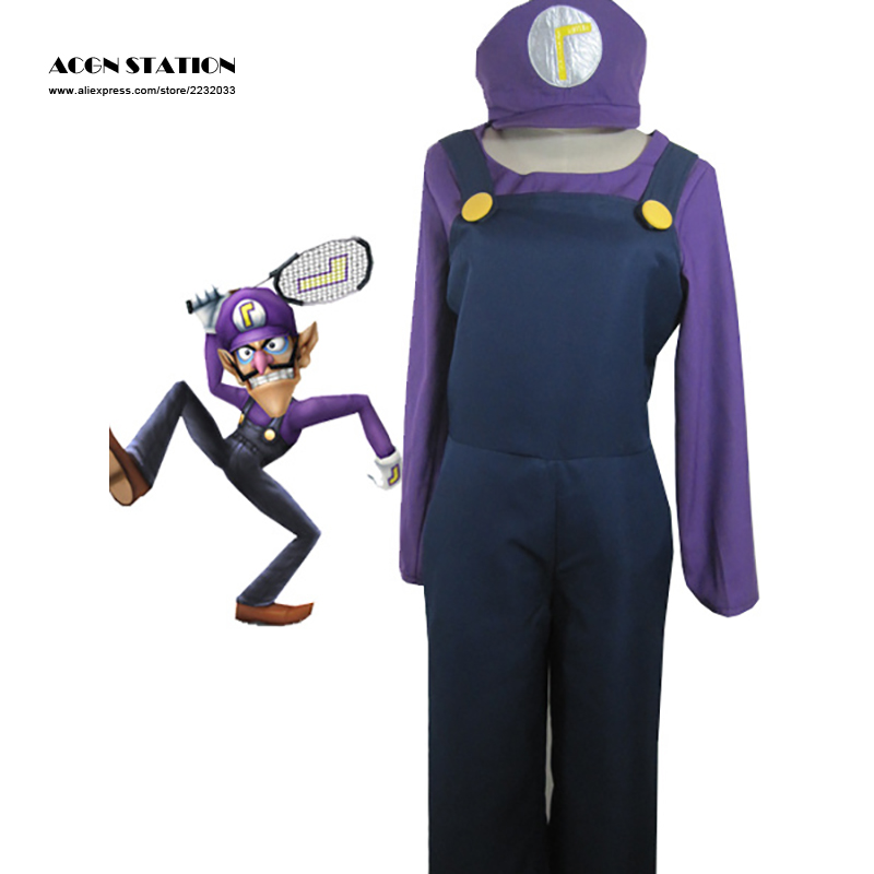 2018 Hot Sale Free Shipping Top-grade Super Mario Bros Waluigi Adult Kid Cosplay Costume Unisex Clothing For Halloween Christmas