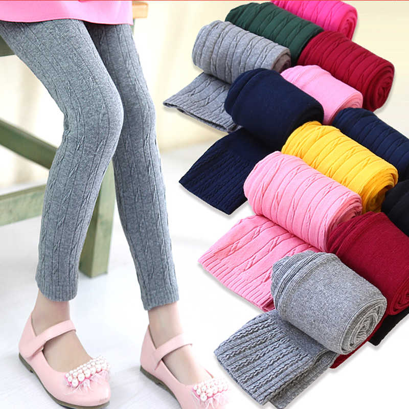 Children Knitting Pants Leggings Skinny Elastic Girl leggings Getry Trousers Spring Autumn Candy Color Leggins Leginsy Baby Kids