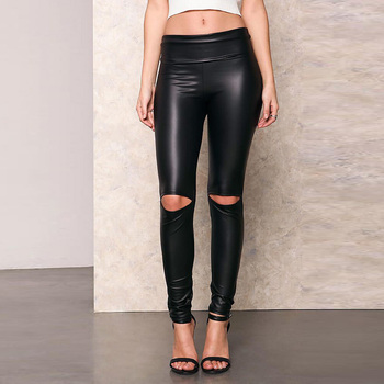 A Forever 2017 Spring Womens LeggingsTrend Fashion Sexy Slim Elasticity Long Pants High Waist  Knee Hole Pencil Pants AFF1046 5