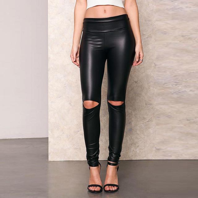 Knee Hole Leather Leggings