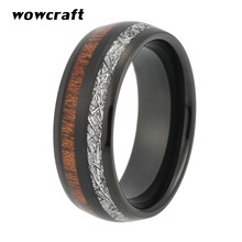 8mm Black Tungsten Carbide Ring for Men Women  Wedding Band Real Koa Wood Meteorite Inlay Couple Rings Rose Gold Silver Colors eejart tungsten ring fashion black and rose gold wedding ring sport ring band 8mm tungsten carbide rings for men jewelry