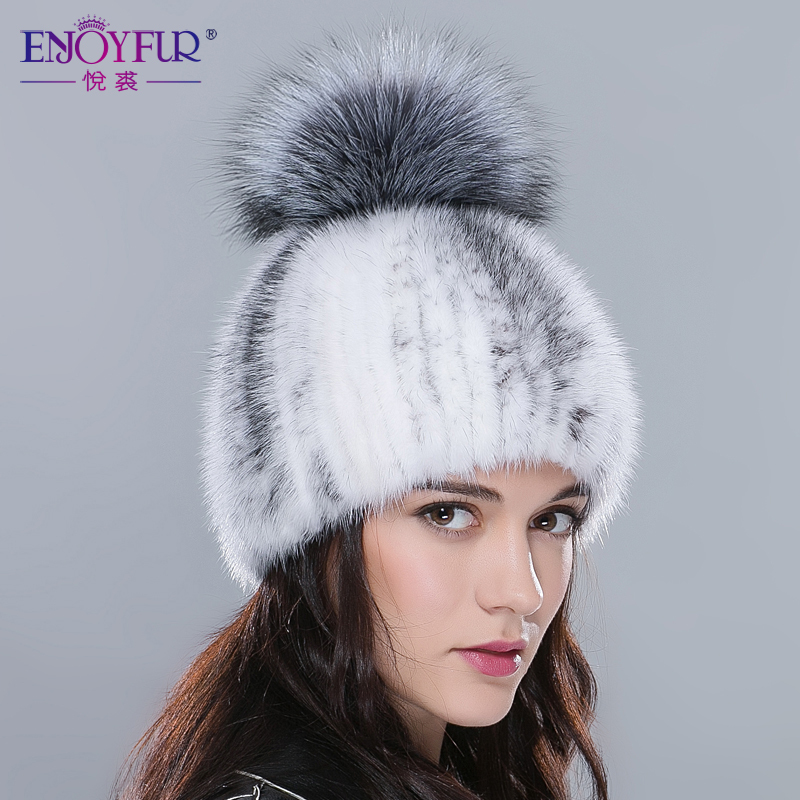 Real mink fur hats for winter women fur cap with fox fur pom pom top 2018  new sale high quality luxury female knitted beanies-in Skullies   Beanies  from ... 7867c238119