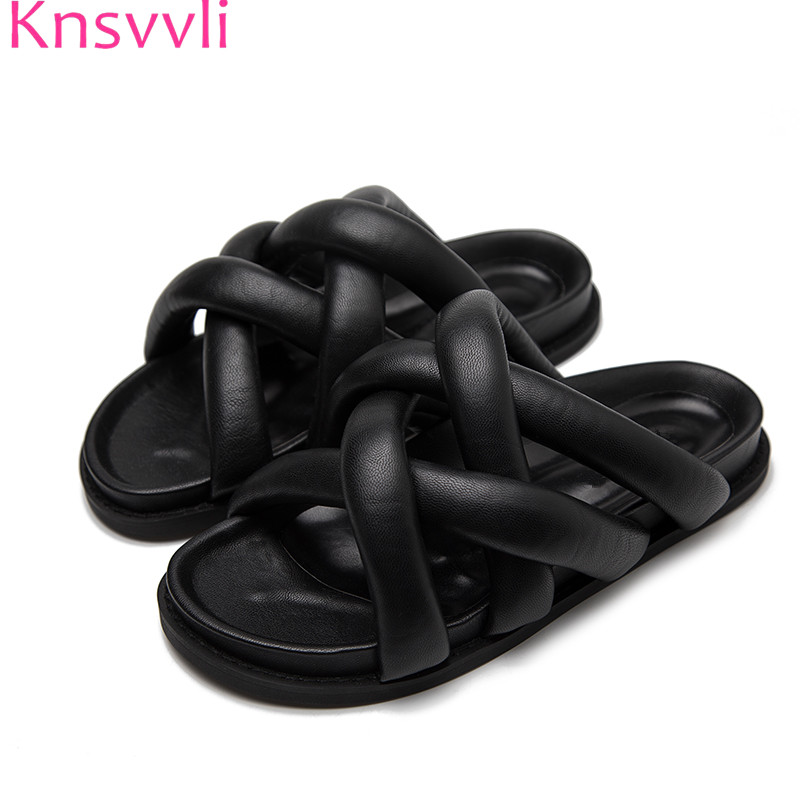 Knsvvli Black slippers Women cross band Mules shoes leather Outdoor slip on ladies sandals and Slippers