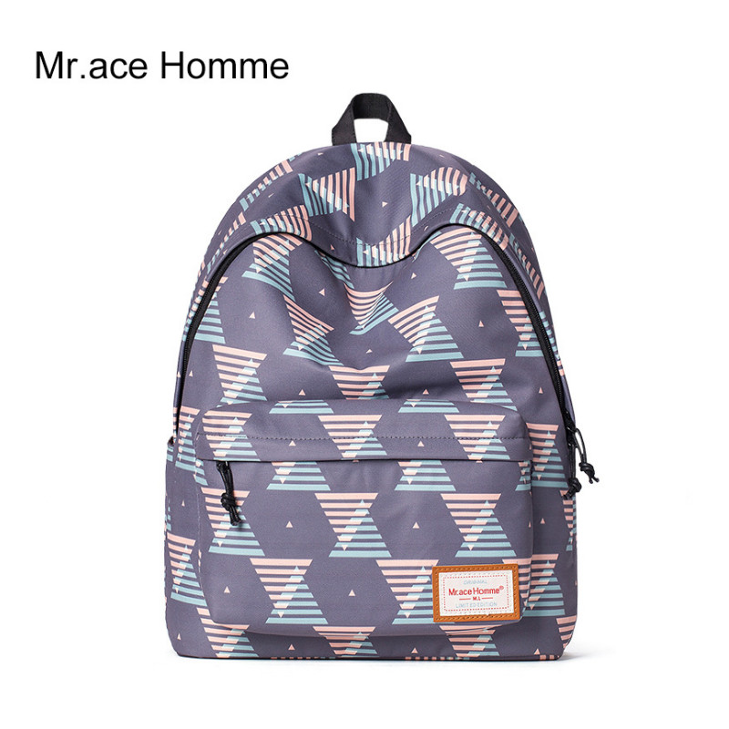 Mr Ace Homme Women Polyester Fiber Laptop School Backpack Female Travel Casual Teenagers Lady College Bag