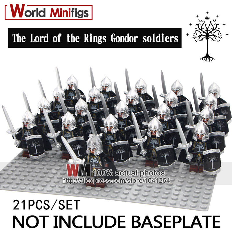 Reliable 21pcs/lot Legoings The Lord Of The Rings Silver Gondor Soldiers Spear Sword Infantry Shield Helmet Building Blocks Children
