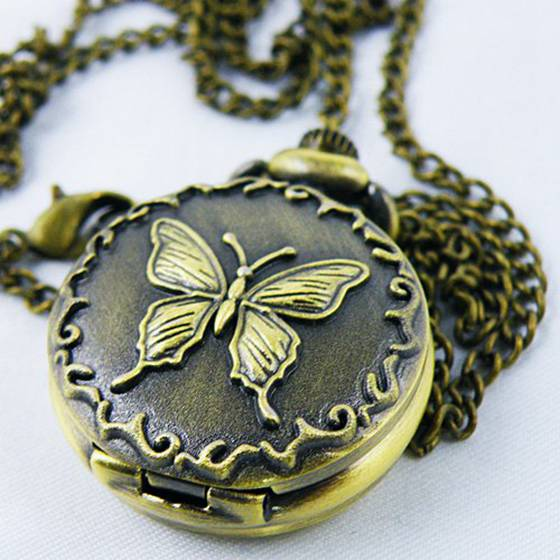 Decorative Bronze Pocket Watch With Butterfly Motif And Chain