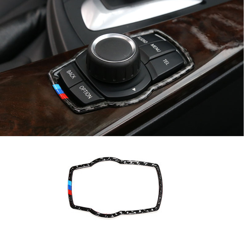 Carbon Fiber Car Multimedia Buttons Frame Cover <font><b>Trim</b></font> Sticker For <font><b>BMW</b></font> F10 E90 F20 F30 GT F25 F26 X5 X6 F15 F16 F34 F01 <font><b>E70</b></font> E71 image