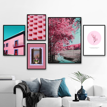 Pink Building Flower Tree Window Wall Art Canvas Painting Nordic Posters And Prints Landscape Pictures For Living Room Home