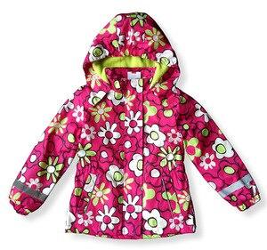 Детская парка с цветочным принтом для девочек, темно-синий ветрозащитный водонепроницаемый Тренч, куртка на весну и осень с флисовой подкла...