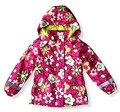 Crianças/crianças/meninas parka floral & marinha à prova de vento/à prova d' água trincheira, jaqueta de primavera/outono w forro de lã, tamanho 98 a 146